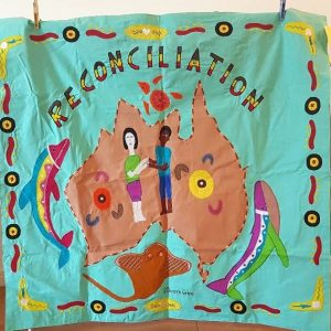 reconciliation of indigenous people wall hanging designed by aboriginal artist